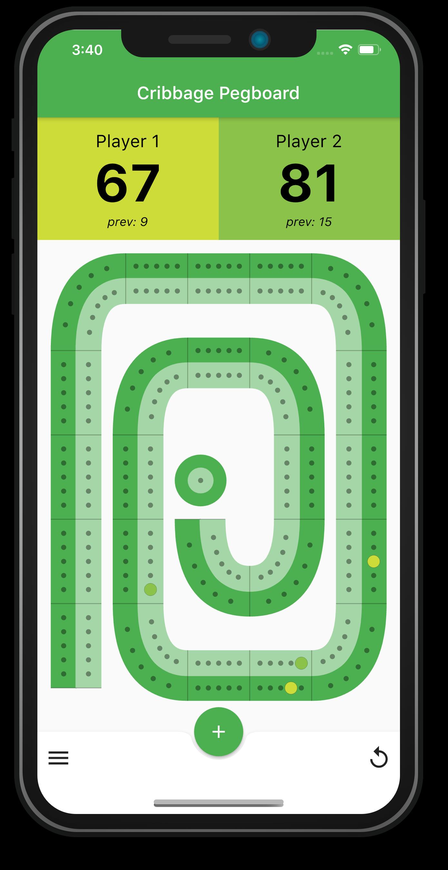 Screenshot of Cribbage Scoring Pegboard App
